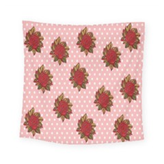 Pink Polka Dot Background With Red Roses Square Tapestry (small) by Nexatart