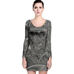 Fractal Black Ribbon Spirals Long Sleeve Velvet Bodycon Dress