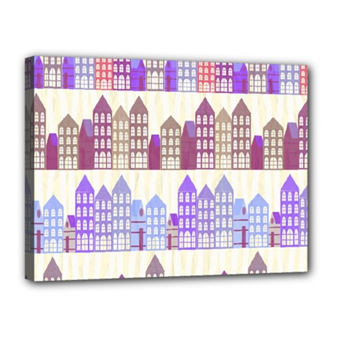 Houses City Pattern Canvas 16  X 12