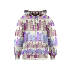 Houses City Pattern Kids  Zipper Hoodie