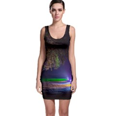 Illuminated Trees At Night Sleeveless Bodycon Dress