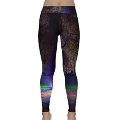 Illuminated Trees At Night Classic Yoga Leggings