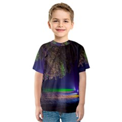 Illuminated Trees At Night Kids  Sport Mesh Tee