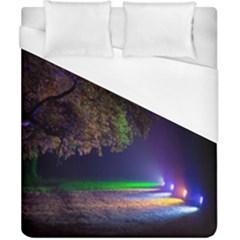 Illuminated Trees At Night Duvet Cover (California King Size) by Nexatart