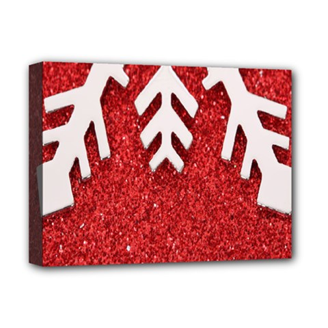 Macro Photo Of Snowflake On Red Glittery Paper Deluxe Canvas 16  X 12