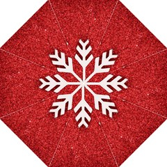 Macro Photo Of Snowflake On Red Glittery Paper Hook Handle Umbrellas (medium) by Nexatart