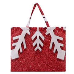 Macro Photo Of Snowflake On Red Glittery Paper Zipper Large Tote Bag by Nexatart