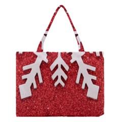 Macro Photo Of Snowflake On Red Glittery Paper Medium Tote Bag by Nexatart