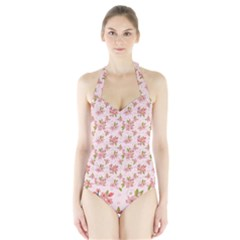 Beautiful Hand Drawn Flowers Pattern Halter Swimsuit by TastefulDesigns