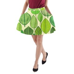 Leaves Pattern Design A Line Pocket Skirt by TastefulDesigns