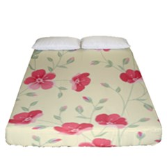 Seamless Flower Pattern Fitted Sheet (queen Size) by TastefulDesigns