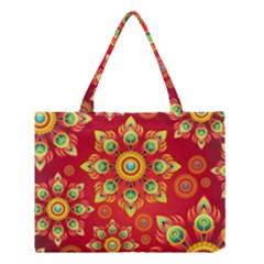 Red And Orange Floral Geometric Pattern Medium Tote Bag by LovelyDesigns4U
