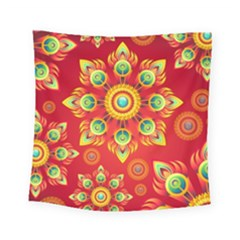 Red And Orange Floral Geometric Pattern Square Tapestry (small) by LovelyDesigns4U
