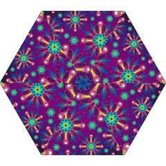 Purple And Green Floral Geometric Pattern Mini Folding Umbrellas by LovelyDesigns4U