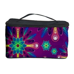 Purple And Green Floral Geometric Pattern Cosmetic Storage Case by LovelyDesigns4U