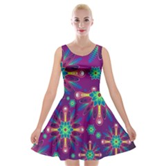 Purple And Green Floral Geometric Pattern Velvet Skater Dress by LovelyDesigns4U
