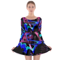 Abstract Artwork Of A Old Truck Long Sleeve Skater Dress