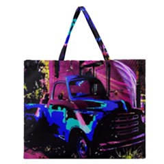 Abstract Artwork Of A Old Truck Zipper Large Tote Bag by Nexatart