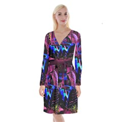 Abstract Artwork Of A Old Truck Long Sleeve Velvet Front Wrap Dress