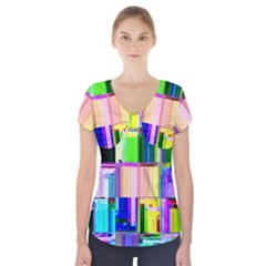 Glitch Art Abstract Short Sleeve Front Detail Top