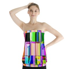 Glitch Art Abstract Strapless Top by Nexatart