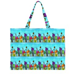 Colourful Street A Completely Seamless Tile Able Design Zipper Large Tote Bag by Nexatart