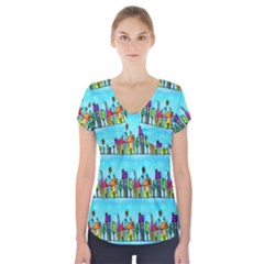 Colourful Street A Completely Seamless Tile Able Design Short Sleeve Front Detail Top