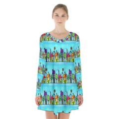 Colourful Street A Completely Seamless Tile Able Design Long Sleeve Velvet V Neck Dress