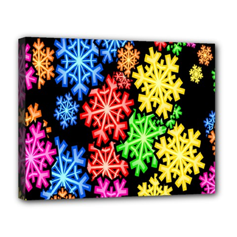 Colourful Snowflake Wallpaper Pattern Canvas 14  X 11  by Nexatart
