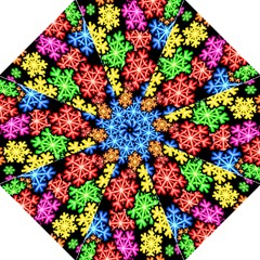 Colourful Snowflake Wallpaper Pattern Hook Handle Umbrellas (large)