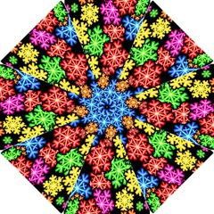 Colourful Snowflake Wallpaper Pattern Hook Handle Umbrellas (small)