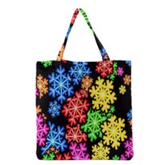 Colourful Snowflake Wallpaper Pattern Grocery Tote Bag by Nexatart