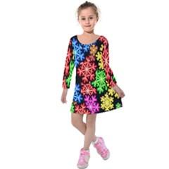 Colourful Snowflake Wallpaper Pattern Kids  Long Sleeve Velvet Dress by Nexatart