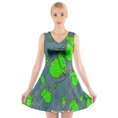 Cartoon Grunge Frog Wallpaper Background V Neck Sleeveless Skater Dress by Nexatart