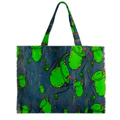 Cartoon Grunge Frog Wallpaper Background Medium Tote Bag by Nexatart