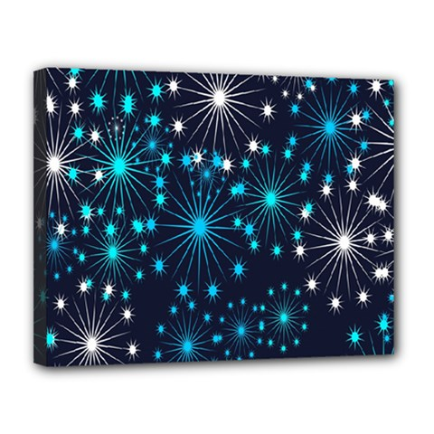 Digitally Created Snowflake Pattern Background Canvas 14  X 11  by Nexatart