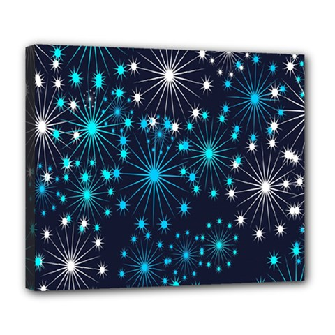 Digitally Created Snowflake Pattern Background Deluxe Canvas 24  X 20