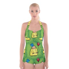 Party Kid A Completely Seamless Tile Able Design Boyleg Halter Swimsuit