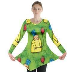 Party Kid A Completely Seamless Tile Able Design Long Sleeve Tunic  by Nexatart