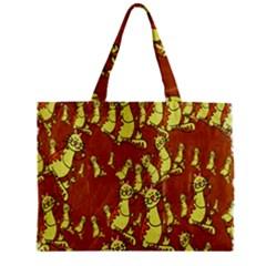 Cartoon Grunge Cat Wallpaper Background Zipper Mini Tote Bag