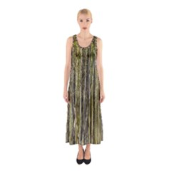 Bamboo Trees Background Sleeveless Maxi Dress