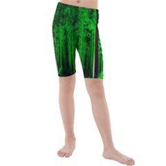 Spooky Forest With Illuminated Trees Kids  Mid Length Swim Shorts by Nexatart