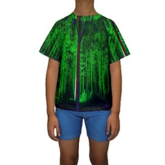 Spooky Forest With Illuminated Trees Kids  Short Sleeve Swimwear