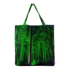 Spooky Forest With Illuminated Trees Grocery Tote Bag