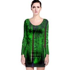 Spooky Forest With Illuminated Trees Long Sleeve Bodycon Dress