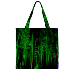 Spooky Forest With Illuminated Trees Zipper Grocery Tote Bag