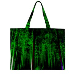 Spooky Forest With Illuminated Trees Zipper Mini Tote Bag