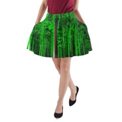 Spooky Forest With Illuminated Trees A Line Pocket Skirt by Nexatart