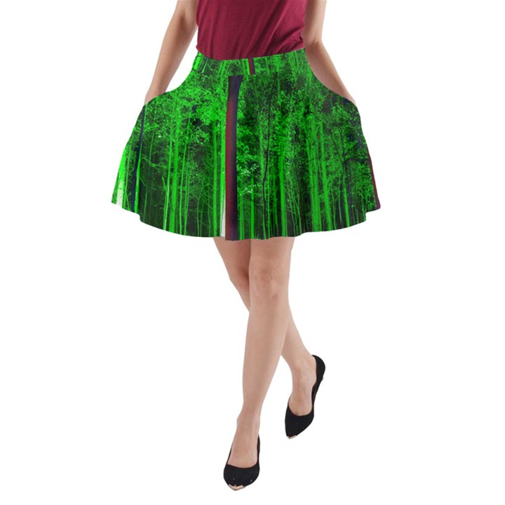 Spooky Forest With Illuminated Trees A-Line Pocket Skirt