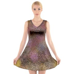 2000 Spirals Many Colorful Spirals V Neck Sleeveless Skater Dress